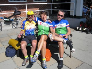Drew, John Lee Ellis and I relax after completing!