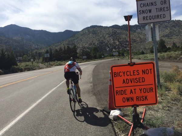 Willy ignores the sign as he starts up Kingsbury Grade.