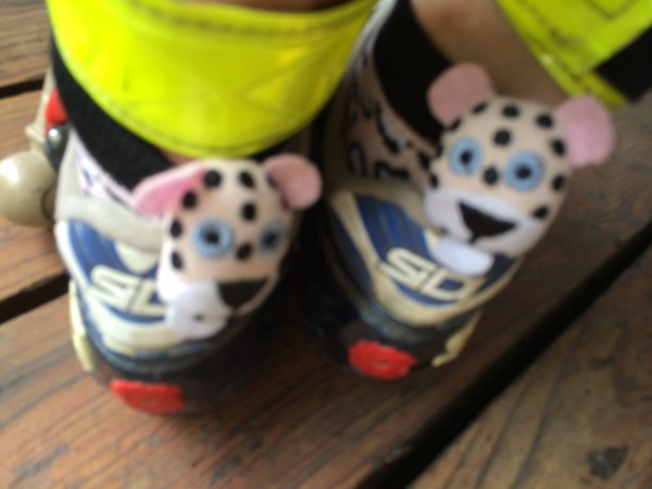 Brought out on Day 2: Performance enhancing Leopard sox.