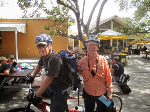 The fearsome Kimball tandem team crush the roads on Rotto. photo: Banks