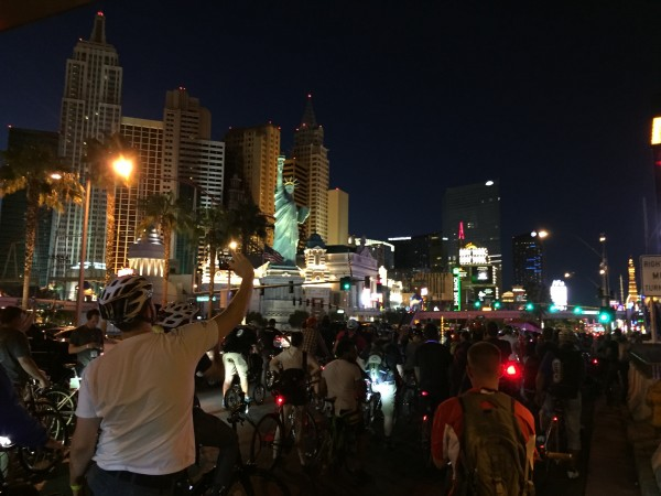 Interbike Critical Mass ride down Las Vegas Blvd. Crazy fun - not to be missed.