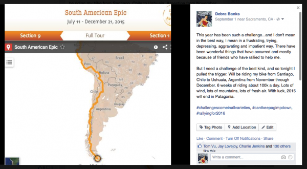 Facebook post committing to South America!